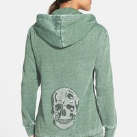 Women's Kings of Cole 'Skull' Embellished Front Zip Hooded Sweatshirt