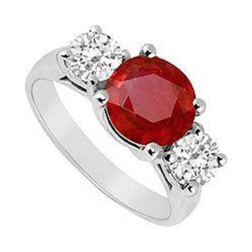 10K White Gold GF Bangkok Ruby and Cubic Zirconia Three Stone Ring 3.00 CT TGW