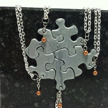 Puzzle Piece Necklace Set of 5 Bridesmaid or Best Friend Pendants Polymer Clay With Copper Swarovski Pearls