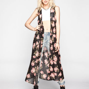 Live 4 Truth Floral Print Womens Long Kimono Vest Black Combo  In Sizes