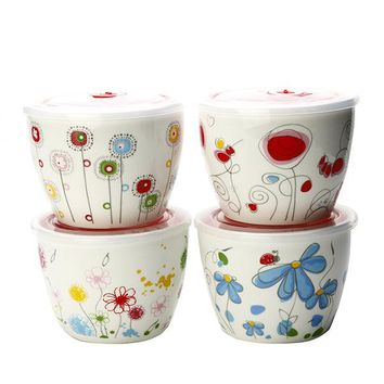 Ceramic Bowl Microwave Oven Insulation Bowls Fresh-Keeping Porcelain Sealed Boxes with Lid Covered
