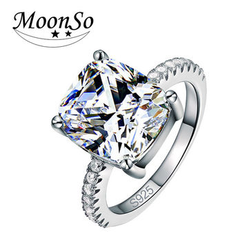 CZ Diamond cushion cut Real 925 Sterling Silver Ring Finger for Women Jewelry Luxury Wedding Engagement Moonso R1953