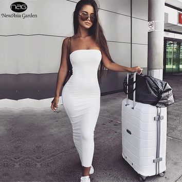 NewAsia Garden 2 Layers 2018 Cotton Summer Dress Women Maxi Dress Sexy Bodycon Dress Long Dresses Tunic Vestido Midi Plus Size