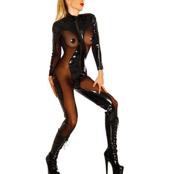 Black PVC Sheer Mesh Crotch Zipper Catsuit