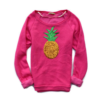 Sequin Pineapple Pink Slouchy Sweatshirt Jumper - Fuchsia