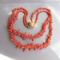 Retro 1930's Double Strand Branch Coral Necklace with ROSE Box Clasp