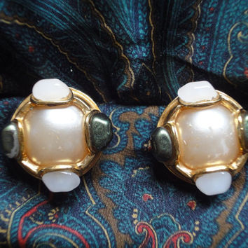 Vintage CHANEL gold tone earrings with a faux pearl, white and green faux stones. Great and rare Chanel vintage jewelry gift.