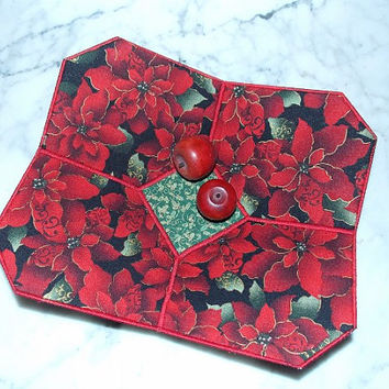 Retro Red Christmas Poinsettia Fabric Bowl