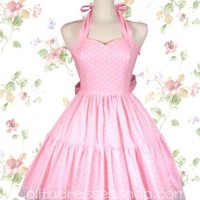Pink Halter Sweetheart Neckline Sleeveless Sweet Lolita Dress With Vertical Pleats Style