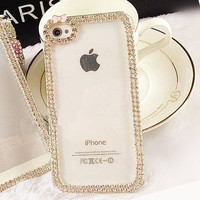 Luxury Crystal Rhinestone Diamond Bling Skin Case With Frosted Clear Back For Iphone 5C 4S 5S 6/6S Plus 7/7PLUS Case
