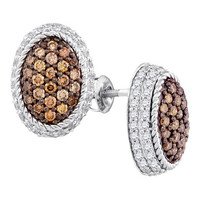 Brown Diamond Fashion Earrings in 10k White Gold 1.19 ctw