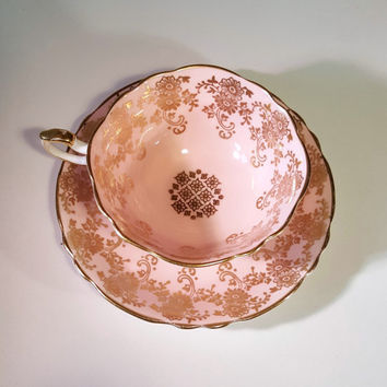 Vintage Paragon Pink and Gold Footed Tea Cup and Saucer Set, Paragon English Tea Cup