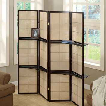 Cappuccino 4 Panel Folding Screen with 2 Display Shelves