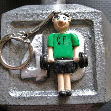 CrossFit Guy with Barbell Key Chain
