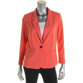 Kensie Womens Crepe Notch Lapel One-Button Blazer