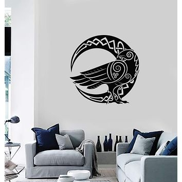 Vinyl Wall Decal Celtic Ornament Raven Moon Crescent Home Room Art Stickers Mural (ig5616)