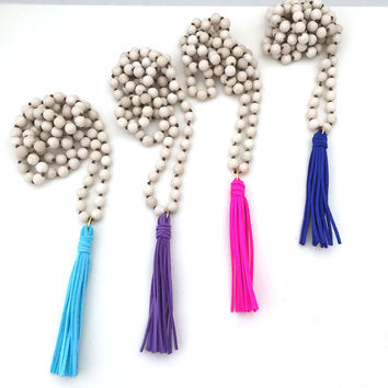 Neon Leather Tassel Necklace