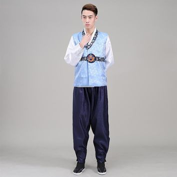 2016 New Men Hanbok Costume Top+pant+vest 3 Pcs Korean Hanbok Male Korean Traditional Clothing Stage Dance Performance Costume 8