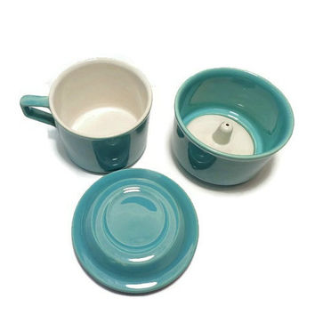 Coffee Drip o Lator Stone Ware. Vintage Single Cup Coffee Maker . One Cup Coffee Filter . Aqua Blue Drip-O-Lator .