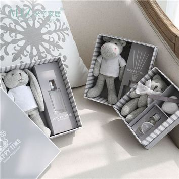 Miz Home Grey Gift Box Plush Toy with Essential Oil Lovely Fragrance Bottle Home Decoration Box Sweet Gift for Girls