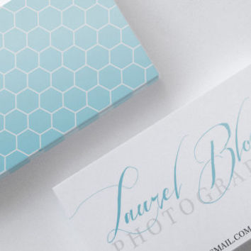 Aqua Blue Silver Gray Honeycomb Double Sided Business Calling Card DIY PDF JPEG Handwritten Calligraphy Font