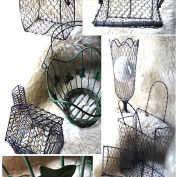 Vintage French Wire Metal Baskets, Green Leaf Scoop, Start at 18 USD, Purses, Novelties, Vases, Treasure Chest, Gift Basket Supplies, MS#12