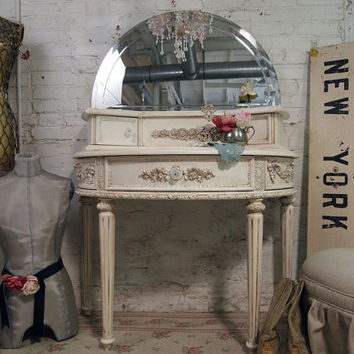 Painted Cottage Chic Shabby Tea Stained French Vanity215