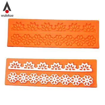 Wulekue Lovely Lace Silicone Sugar Mold Baking Flower Border Mat Cake Decoration Tool for Fondant Cake Cupcake Decorating Tools