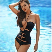 3087110 BLACK SEXY ONE PIECE SWIMSUIT