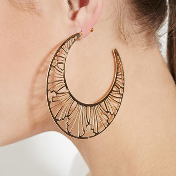 Cutout Crescent Hoop Earrings