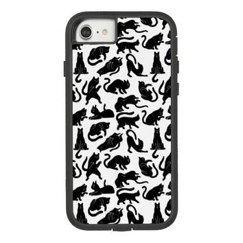 Vintage Whimsical Cat Pattern Fabric Case-Mate Tough Extreme iPhone 7 Case