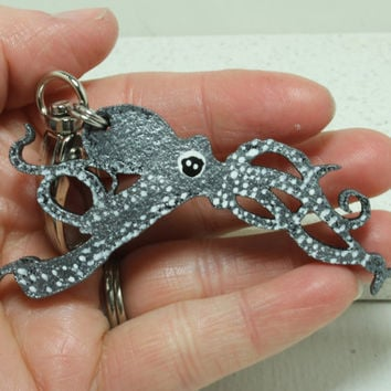 Octopus  key chain Hand painted Leather