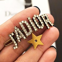 DIOR Fashion Women Letter Diamond Hairpin Accessories Jewelry