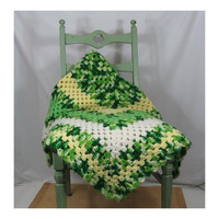 "1970s Crochet Afghan in Shades of Green . Vintage Throw Blanket 64"" x 52"""