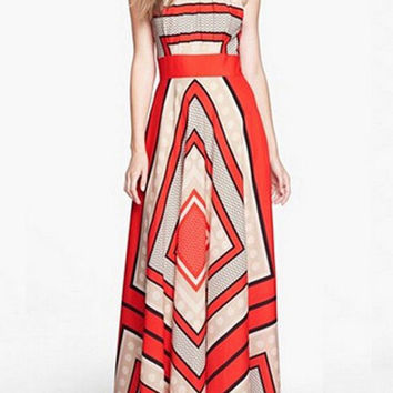 Summer Plaid Geometric Printed Sleeveless Halter Cold Shoulder Maxi Chiffon Dress