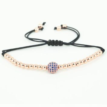 New Fashion Men Bracelets Gold-color 4mm Round Beads & 8mm Micro Pave Black CZ Beads Braiding Macrame Bracelet Men Jewelry,Gift