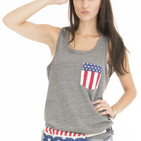 Womens Americana Pocket Tank Top
