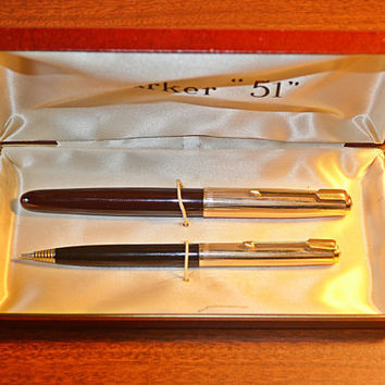 "1950's Parker ""51"" 12K Gold Filled Fountain Pen And Parker Liquid Lead Pencil, In Original Hard Case"