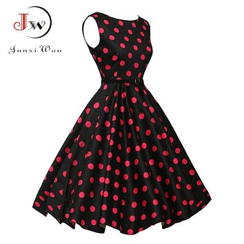 Women Summer Dress 2017 Polka Dot Retro Vintage 50s 60s Casual Party Office Robe Rockabilly Dresses Plus Size Vestidos mujer