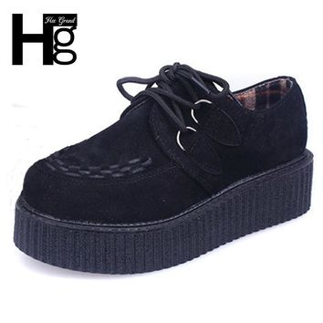 HEE GRAND Vintage Creepers 2017 Fashion Women Flat Platform Shoes Spring Autumn for Female Wholesale Retail XWX403