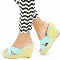 Aqua Sunday Beach Bum Wedges