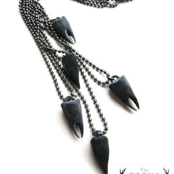 Black Tooth Necklace, tooth necklace, Modern necklace, cool jewelry, weapon accessory, goth jewelry, black dagger