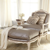 """""""Silver"""" Leather Chair & Ottoman - Horchow"""