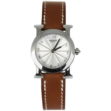 """2010s Hermès """"Heure H"""" H Ronde PM Leather Watch"""