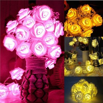 10 LED/ 20 LED/ 40 LED Rose Flower Fairy Light String Lights Battery Powerd For Wedding Party Christmas Decoration