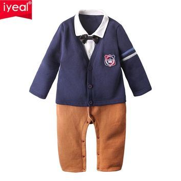 Baby Boys Rompers Newborn Cotton Long Sleeve Jumpsuit Autumn Kids Infant Toddler Little Boy Preppy Style Outfit