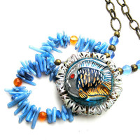Tropical Fish Pendant Necklace, Coral Necklace, Czech Glass Button Pendant, Summer Jewelry, Colorful Jewelry, Blue, Orange, Fish Jewelry