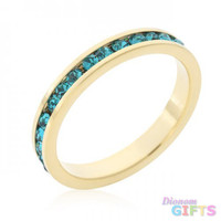 Stylish Stackables Turquoise Crystal Gold Ring (size: 07)