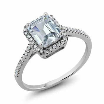 Vintage Emerald Cut White CZ 925 Sterling Silver Ring