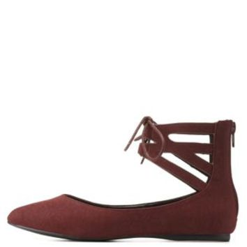 Burgundy Ankle Cuff Pointy Toe Flats